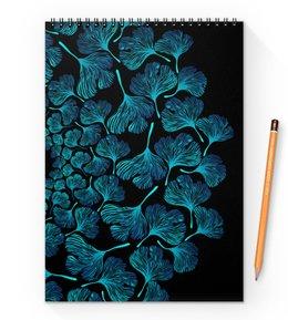 """Блокнот на пружине А4 """"Орнамент из голубых листьев гинкго"""" - голубой, круг, орнамент, венок, гинкго"""
