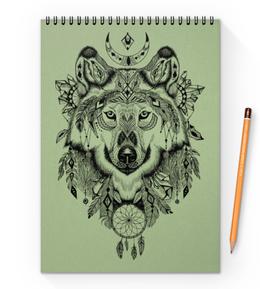 """Блокнот на пружине А4 """"Тотем. Волк"""" - графика, волк, тотем"""