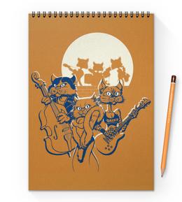 "Блокнот на пружине А4 ""Кошачий концерт"" - музыка, группа, кошки, джаз, концерт"