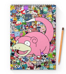 """Блокнот на пружине А4 """"Слоупок"""" - pokemon, покемон, пикачу, pikachu, pokemon go"""
