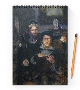 """Блокнот на пружине А4 """"Гамлет и Офелия (картина Михаила Врубеля)"""" - картина, живопись, шекспир, литература, врубель"""