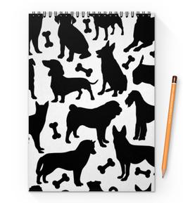 "Блокнот на пружине А4 ""Собаки"" - животные, dog, собака, пёс, косточка"