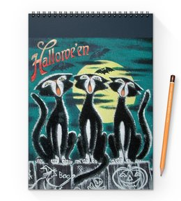 "Блокнот на пружине А4 ""Хеллоуин"" - череп, ведьма, хэллоуин, кости, тыква"