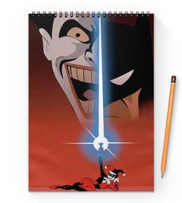 "Блокнот на пружине А4 ""Бэтмен"" - комиксы, джокер, бэтмен, харли квинн, dc comics"