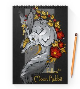 "Блокнот на пружине А4 ""Moon rabbit"" - цветы, луна, rabbit, moon, gold"