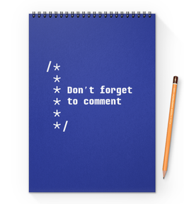 "Блокнот на пружине А4 ""Комментируй код"" - web, it, код, программирование, code"