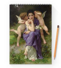 """Блокнот на пружине А4 """"Песни весны (картина Вильяма Бугро)"""" - картина, академизм, живопись, мифология, бугро"""