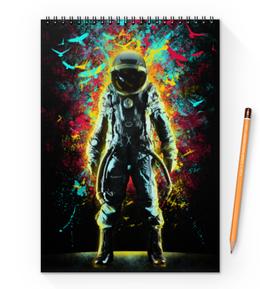 """Блокнот на пружине А4 """"Внутреннее Пространство"""" - арт, space, абстракция, космонавт, пространство"""