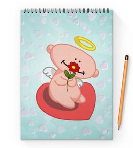 """Блокнот на пружине А4 """"Влюбленный ангелок с сердцем"""" - сердце, любовь, цветок, ангел"""