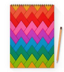 """Блокнот на пружине А4 """"Papercraft style"""" - полосы, абстракция, геометрия, линии, papercraft"""