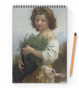 """Блокнот на пружине А4 """"Юная Эсмеральда (картина Вильяма Бугро)"""" - картина, академизм, живопись, бугро, крестьянка"""