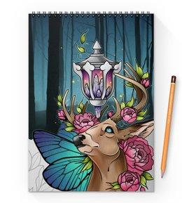 """Блокнот на пружине А4 """"Night deer"""" - ночь, лес, олень, deer"""
