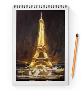 "Блокнот на пружине А4 ""Париж"" - шоколад, париж, paris, эйфелева башня"