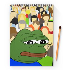 """Блокнот на пружине А4 """"Pepe Frog"""" - мем, meme, sad frog, pepe frog, pepe the frog"""