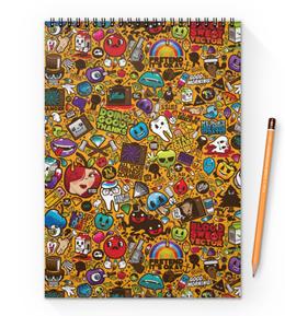 "Блокнот на пружине А4 ""Stickers"" - арт, стиль, рисунок, дизайн, графика"