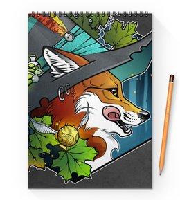 """Блокнот на пружине А4 """"Witch fox"""" - ведьма, лес, fox, лиса, магия"""