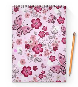 "Блокнот на пружине А4 ""Бабочки"" - бабочки, цветы, розовый фон"