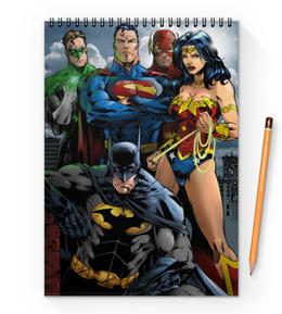 "Блокнот на пружине А4 ""Лига Справедливости"" - комиксы, бэтмен, dc comics, флэш, justice league"