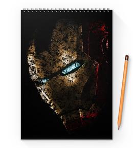 "Блокнот на пружине А4 ""Железный человек"" - комиксы, марвел, iron man, tony stark, тони старк"