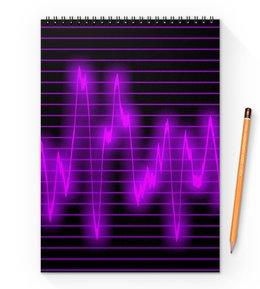 """Блокнот на пружине А4 """"Мелодия"""" - музыка, узор, звук, краски, звуковая волна"""