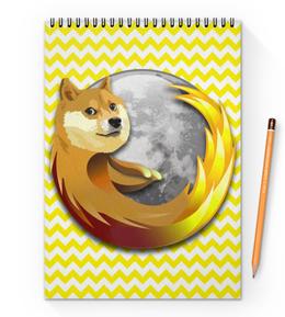 """Блокнот на пружине А4 """"Doge Firefox"""" - dog, doge, mozilla firefox"""