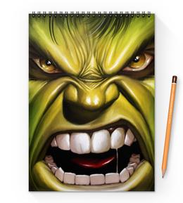 "Блокнот на пружине А4 ""Халк (Hulk)"" - марвел, комиксы, мстители, брюс баннер"