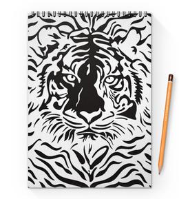 "Блокнот на пружине А4 ""Взгляд Тигра"" - рисунок, взгляд, графика, тигр, чёрное и белое"