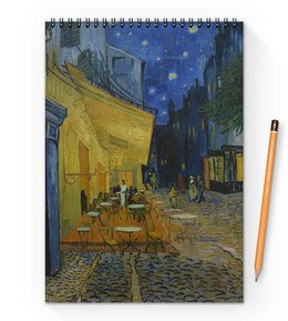 "Блокнот на пружине А4 ""Ночная терраса кафе ( Винсент Ван Гог)"" - картина, ван гог, живопись"