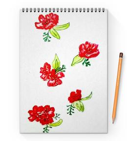 """Блокнот на пружине А4 """"Блокнот Красные цветы"""" - цветы, маки, лето, цвести"""