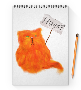 "Блокнот на пружине А4 ""Обнимашки?"" - кот, cat, рыжий, обнимашки, hugs"