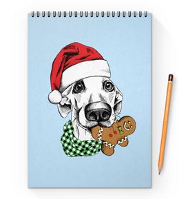 """Блокнот на пружине А4 """"Новогодний"""" - новый год, собака"""