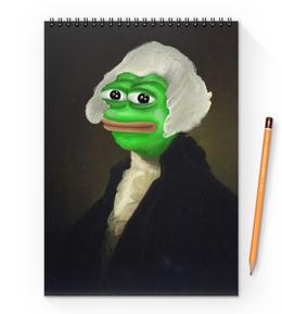 "Блокнот на пружине А4 ""Sir Pepe"" - мем, грустная лягушка, sad frog, pepe frog, pepe the frog"