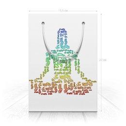 """Пакет 15.5х22х5cм """"Йог в медитации с мантрой"""" - йога, подарок, слова, индуизм, мантра"""