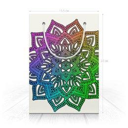 """Пакет 15.5х22х5cм """"Радужный индийский цветок (подарочный)"""" - цветы, узор, подарок, мандала, мехенди"""