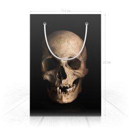 """Пакет 15.5х22х5cм """"Человеческий череп."""" - череп, хэллоуин, страх, ужас, смерть"""