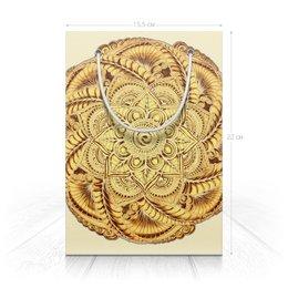 "Пакет 15.5х22х5cм ""Золотая мандала (для подарка)"" - цветы, подарок, мандала, индийский, мехенди"