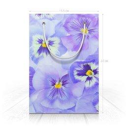 """Пакет 15.5х22х5cм """"Цветы Анютыны глазки"""" - цветы, растение, рисунок, сказка, фиалки"""