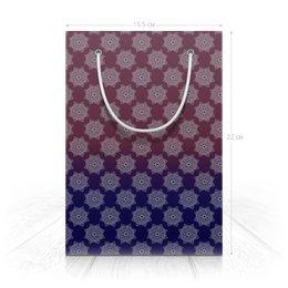 "Пакет 15.5х22х5cм ""Пурпурно-синий дизайн (для упаковки подарков)"" - праздник, орнамент, подарок, мандала, индийский"