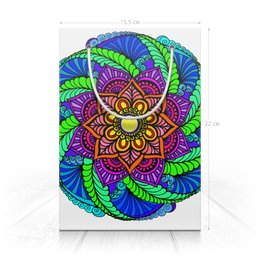 "Пакет 15.5х22х5cм ""Красочная мандала "" - цветы, узор, подарок, мандала, индийский"