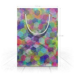 "Пакет 15.5х22х5cм ""Красочные кристаллы"" - праздник, орнамент, подарок, абстракция, геометрия"