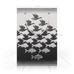 """Пакет 15.5х22х5cм """"Птицы-Рыбы"""" - птицы, черно-белый, подарок, мужчине, рыбы"""
