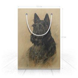 "Пакет 15.5х22х5cм ""Скотч терьер"" - дружба, картина, собака, подарок, артур вардль"