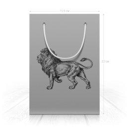 "Пакет 15.5х22х5cм "" Рисунок льва на сером фоне."" - хищник, лев, рисунок, животное, гравюра"