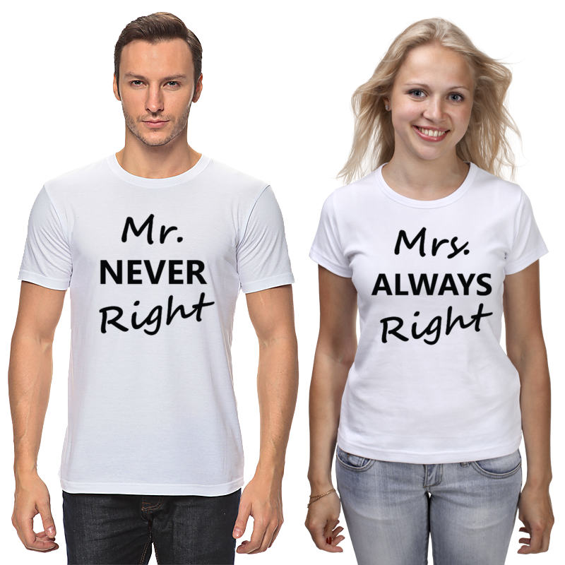 Футболки парные Printio Mrs. always right & mr. never right