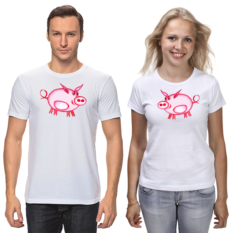 Фото - Футболки парные Printio Розовый поросёнок кардиган женский oodji цвет светло розовый меланж 63207197 48998 4000m размер s 44