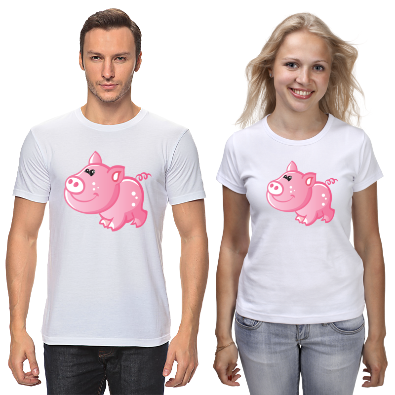 Футболки парные Printio Свинья футболки