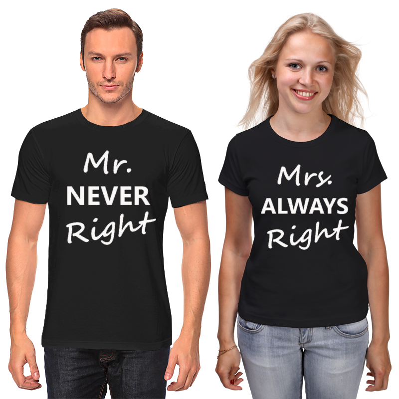 Футболки парные Printio Mrs. always right & mr. never right black mr almost right