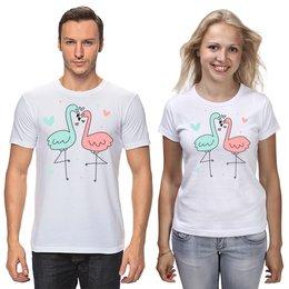 """Футболки парные """"Фламинго"""" - любовь, день святого валентина, птицы, фламинго"""