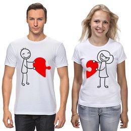 """Футболки парные """"Сердце для пар"""" - любовь, день святого валентина, семья, парные, пары"""
