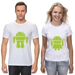 """Футболки парные """"Андроиды: он и она. Любовь"""" - арт, юмор, android, андроид"""